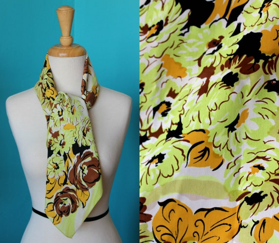 Green & Gold Silk Head Scarf for Women/Floral Head