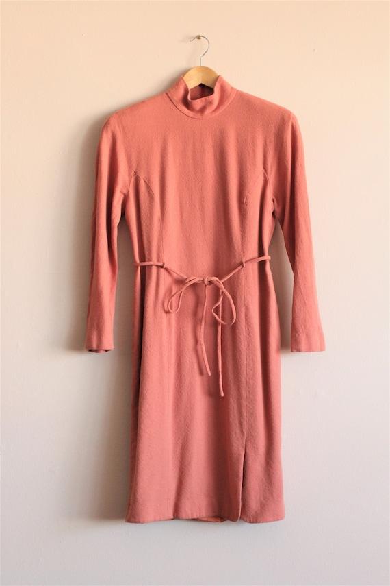 Burnt Orange Dress/Wool Mod Dress Vintage/Orange V