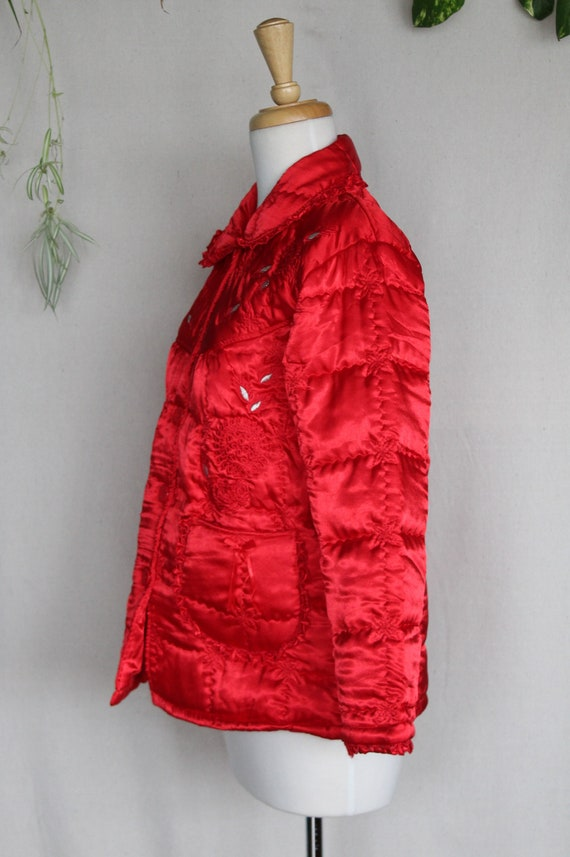 Red Satin Puffer Jacket/Vintage Quilted Puffer Co… - image 5