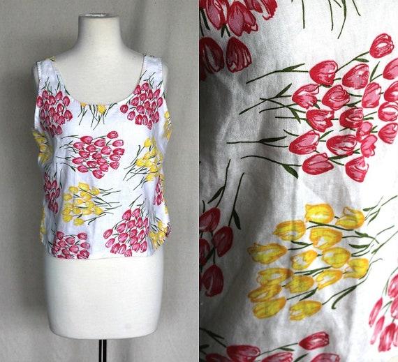 White Pink & Yellow Linen Crop Top/Tulip Print Tan