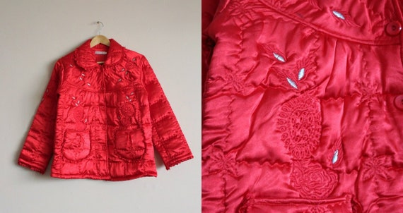 Red Satin Puffer Jacket/Vintage Quilted Puffer Co… - image 1