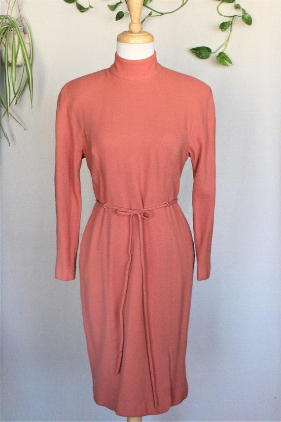 Orange Sheath Dress Orange Dress Small Vintage Dress Women/'s Wool Dress 1950/'s Orange Wool Sheath Dress Wool Vintage Dress