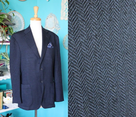 Navy Oversized Blazer/Herringbone Harris Tweed Jac