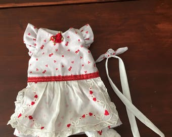 """Hearts and flowers dress and pantaloon set for 12"""" Waldorf doll"""