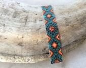 Sunset bracelet, seed beads loom bracelet, Native American inspired