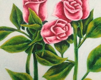 """Oil painting""""Pink Roses"""""""