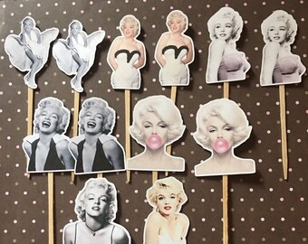 Marilyn Monroe Party Cupcake Toppers Set Of 12