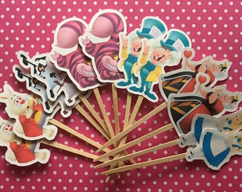 Alice in wonderland party cupcake toppers set of 12