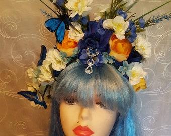 Fairy Crown, Blue Fairy, goddess, woodland headpiece