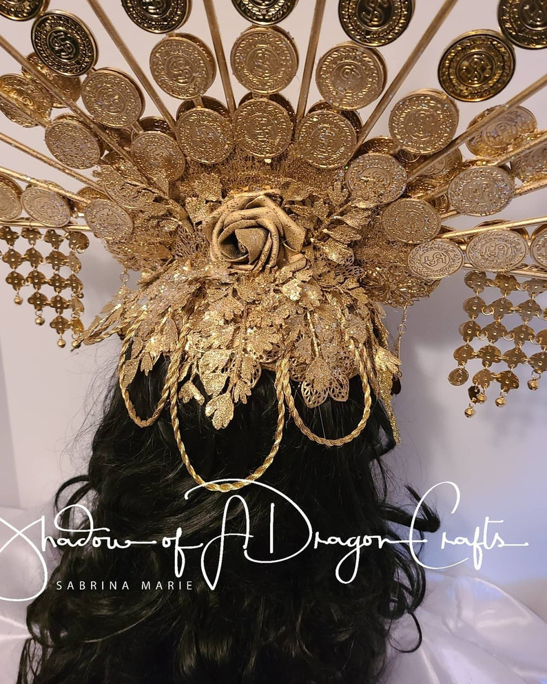Made to order coin gold halo Gold statement large Headpiece fantasy crown