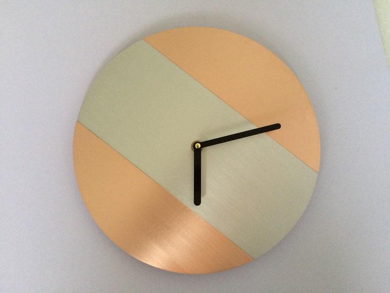 minimalist wall clock real copper clock handmade modern decor | etsy
