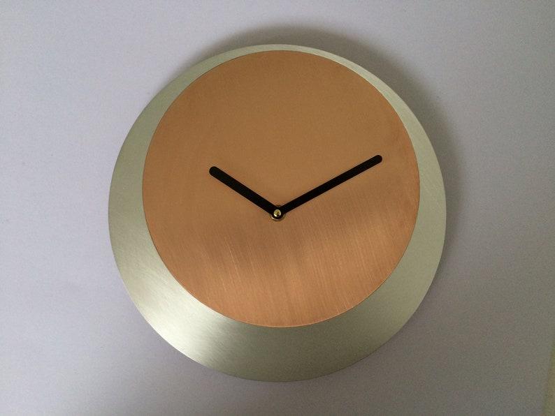 d98f4b5ae Round Wall Clock Minimalist Real Copper Wall Clock Handmade