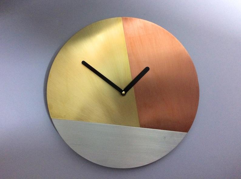 c7496aa4e Real Brass Copper Wall Clock Handmade Modern Decor Round Wall