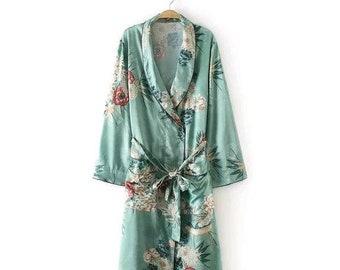 Long Oriental Green Floral Peony belted kimono size UK 16 US 12 EU 42 25da29190