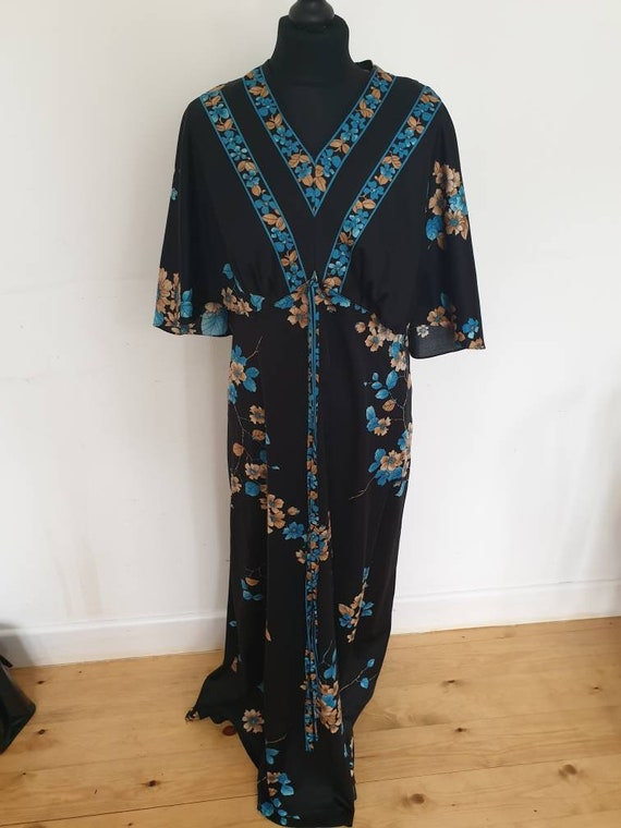 Kimono Dress Black Oriental 1970s