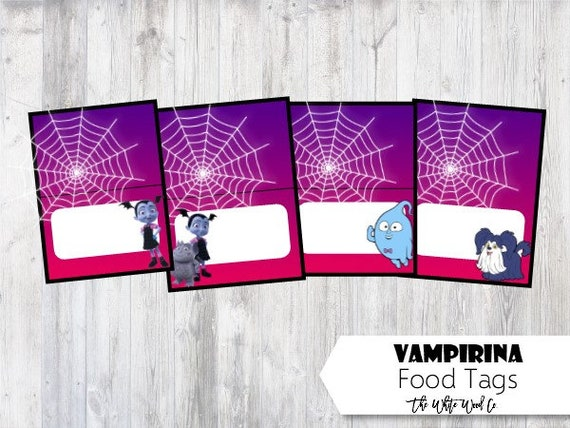Vampirina Food Tag Food Labels Party Supplies Vampirina Etsy