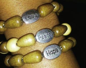 Love, Peace & Hope army green wood bead bracelets