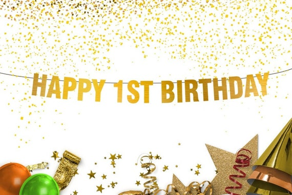 HAPPY 1ST BIRTHDAY Banner - first birthday party - happy birthday banner -  smash shoot - party decoration - birthday decorations