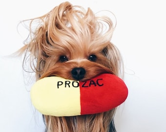 Prozac Pill Squeaky Dog Toy