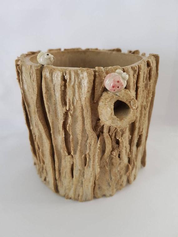 Ręcznie Ceramiczne Kora Effectdrzewo Pnia Ozdobione Biedronki Roślina Doniczkapenwłaściciel Papeterii