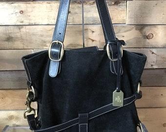 dbd81d13cd72 Stunning vintage Black leather and suede Ralph Lauren purse