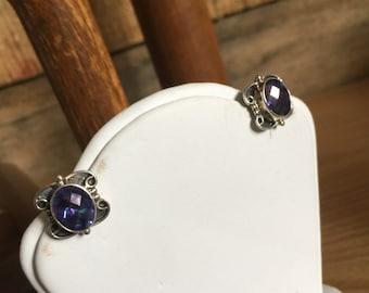 Vintage Sterling Silver & Purple Amethyst Earrings