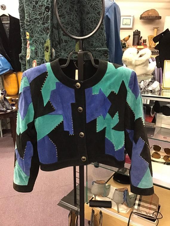 Vintage 1980's ladies suede studded jacket