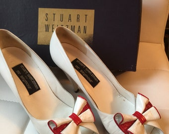 Vintage Ladies Stuart Weitzman for Mr Seymour leather bow pumps