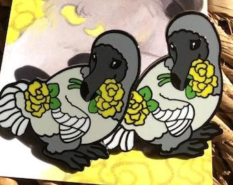 Dodo Hard Enamel Pin with Flowers