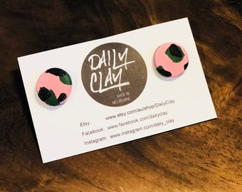 Large Pink, Green and Black Studs
