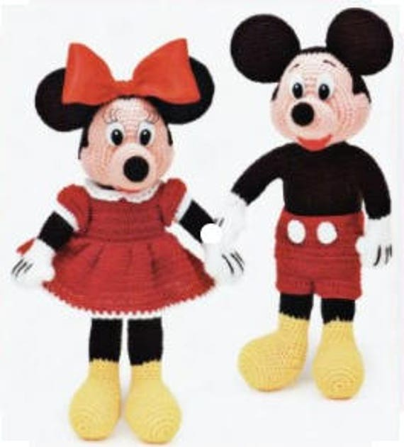 Disney Crochet Mickey Mouse And Minnie Mouse Crochet Doll Etsy