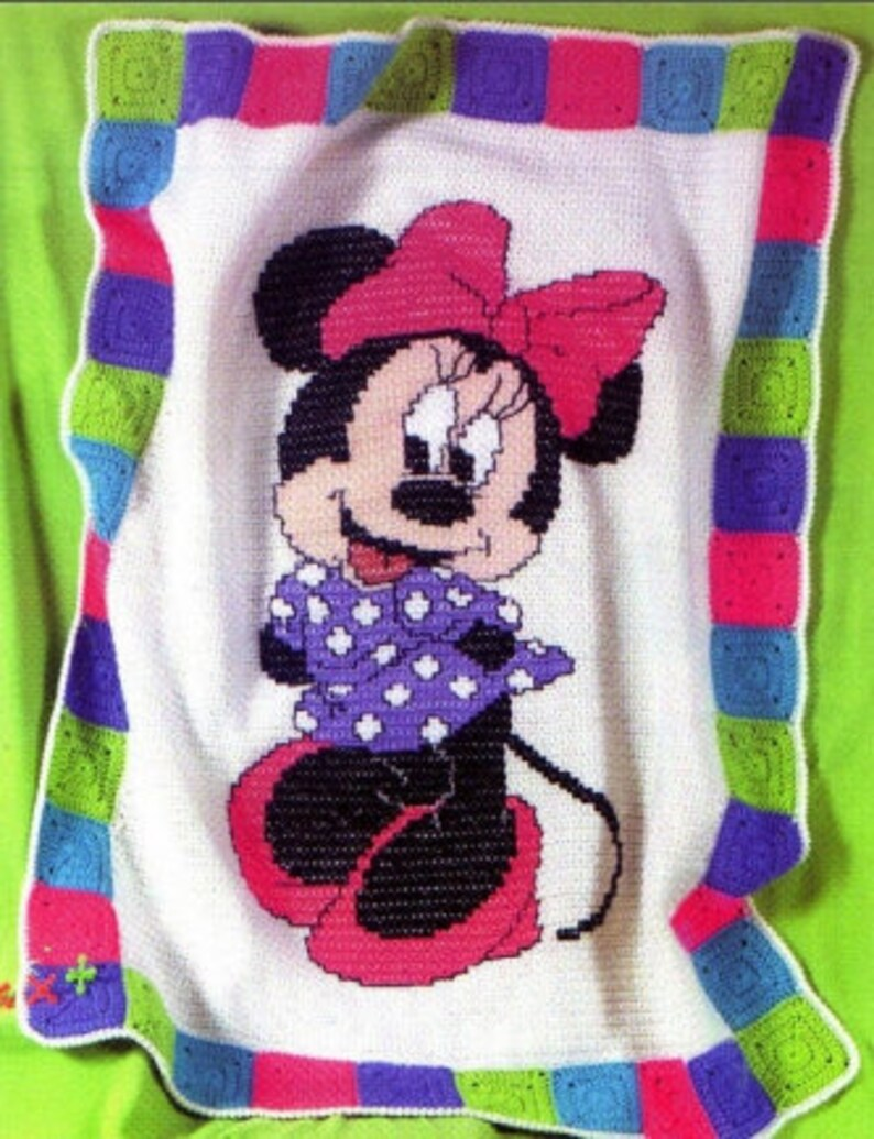 Crochet Blankets Patternmickey Mouse And Minnie Mouse Crochet Etsy