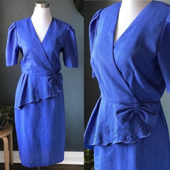 Royal Blue 1980s Asymmetrical Peplum Power Dress