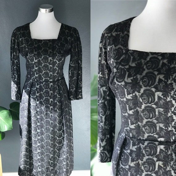 1950s Black Rose Vintage Wiggle Dress
