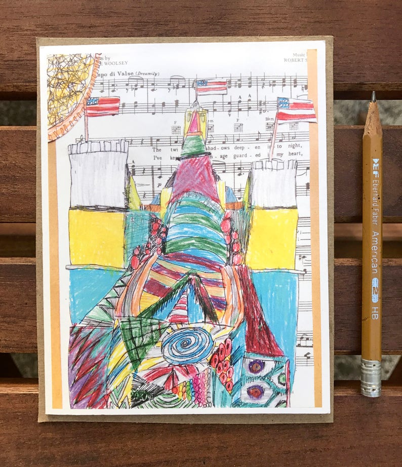 Music Card Collage Art Kids Birthday
