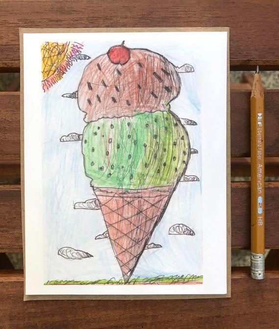 Ice Cream Card Ice Cream Cone Blank Note Card Dessert Card Kids Birthday Card Ice Cream Party Kids Drawing Art Card