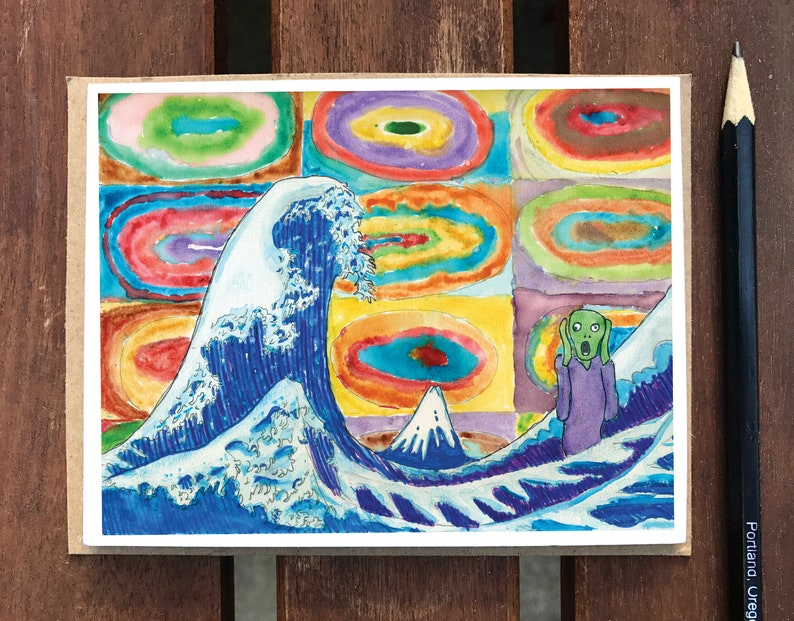 Kid Art Card Funny Gift Card Silly Scream Card You Got This Card Funny Sorry Card Waves Crashing Card kid Painting Encouragement card