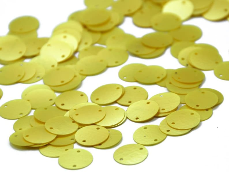 Arts And Crafts Pack Of 100 grams Beading The Design Cart Lime Yellow Two Hole Circular Sequins 1.2 cm - for Embroidery Applique