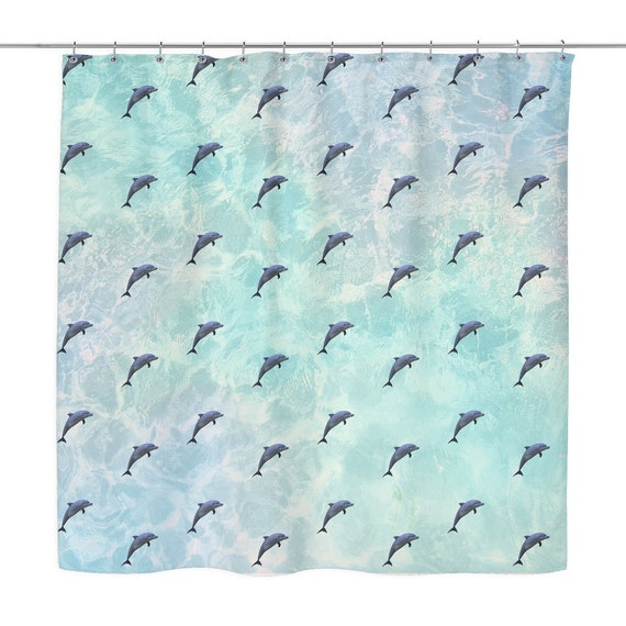 Vapor Wave Dolphin Shower Curtain Funny Retro Bath Curtains Etsy