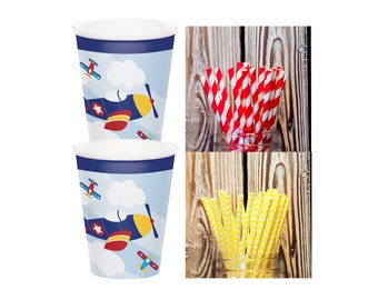 Airplane Cups and Paper Straw Pack