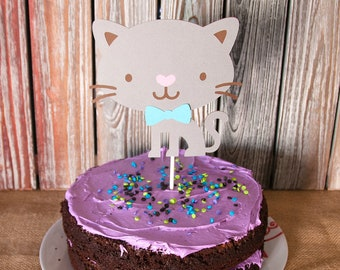 Cat Cake Topper, Kitty Cat Cake Topper, Baby Shower, Birthday, Baby Boy, Baby Girl, Kitty Cake Topper, Handmade, Gender Reveal, Party Time
