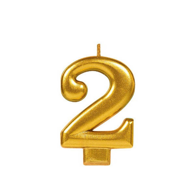 Anniversary Candle Number Two 2nd Birthday Numeral 2 Gold 2 Candle Real Wax Candle Large Fancy 3 14 inch Tall Birthday Candle