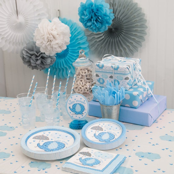 Kids UmbrellaPhants Baby Shower Pink Blue Plates Fancy Birthday Party Accessory