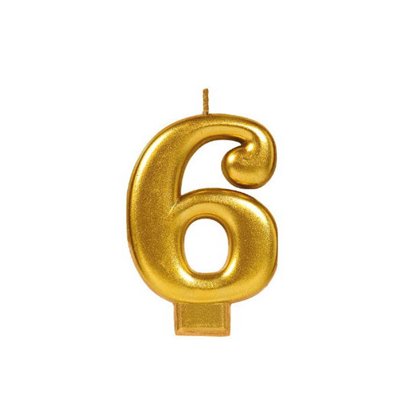 6th Birthday Gold 6 Candle Number Six Anniversary Candle Real Wax Candle Large Fancy 3 14 inch Tall Birthday Candle Numeral 6