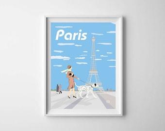 Parisienne Stroll  Print Digital Art Paris Art Deco Poster