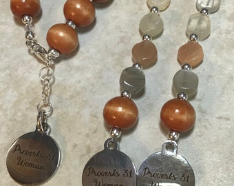 Boho Proverbs 31 Moonstone Wood Beaded Bracelet & Earring Set Handmade Silver Plated Findings Graduation Birthday Gift for Her