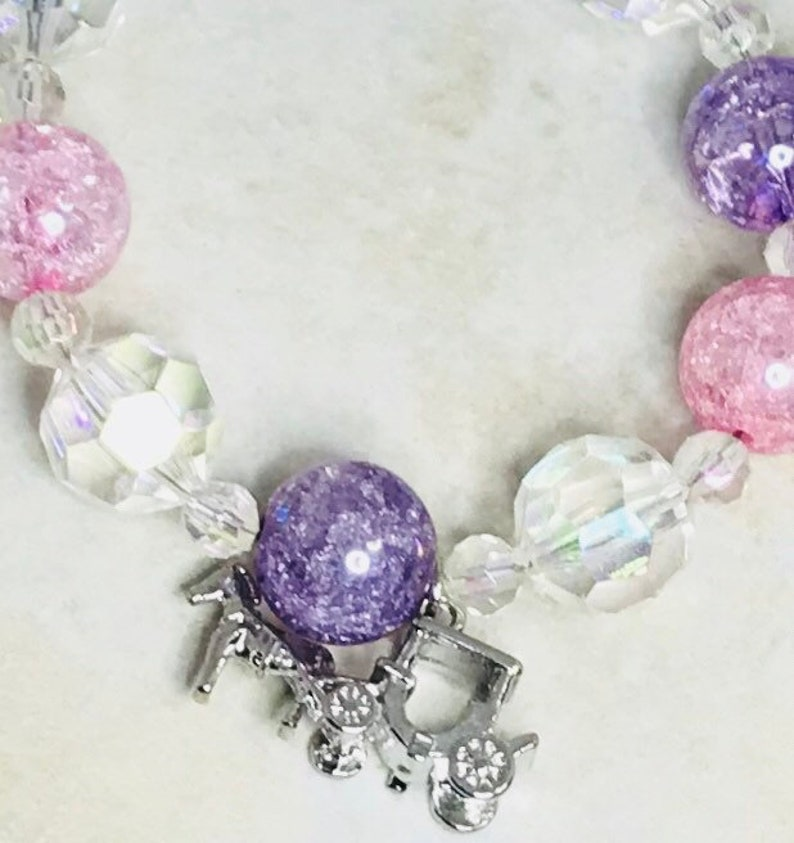 Princess Aurora Inspired Pink and Purple Beaded Bracelet-Carriage Charm Bracelet-Adjustable Length-Disney Bound Jewelry-Gift for Her