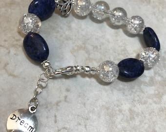 Boho Silver Plated Lotus Sodalite Crackled Glass Handmade Bracelet with Extender Graduation Gift for Her