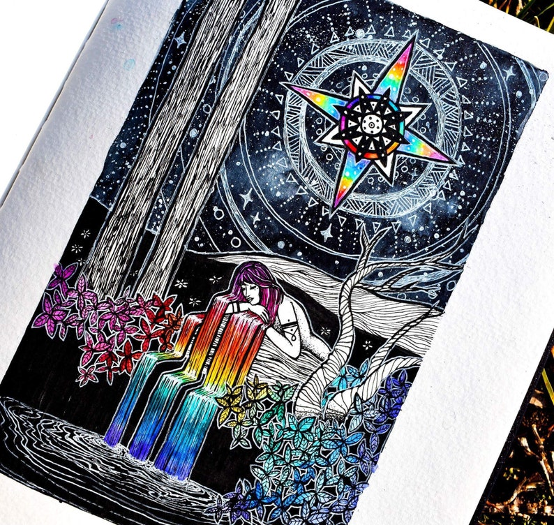 A4 The Star Tarot Card Original Wall Art Print Cosmic Daisy Tarot Deck