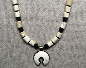 Long Tibetan style necklace with authentic Nepalese pendant
